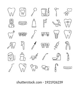 Dentistry and orthodontics line icon set. Thin linear signs for dentistry clinic. Dental care equipment and medical elements. Orthodontics concept.