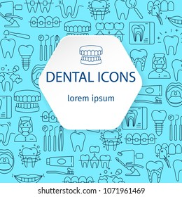 Dentistry and orthodontics pattern with outline icons of clinic services dentistry orthodontics oral health care hygiene dental instruments vector illustration. Dental concept frame. Place for text