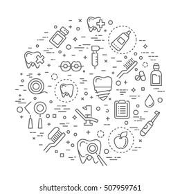 dentistry outline symbols. Vector illustration Medicine. Health