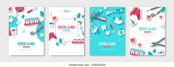Dentistry posters set with Flat Icons on Blue and White Background. Vector illustration. Dental Concept Frame. Healthy Clean Teeth. Dentist Tools and Equipment.