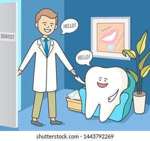 Dentistry reception, waiting room. The tooth is sitting in a cozy armchair, waiting for an appointment. A polite dentist is inviting the patient to the cabinet.