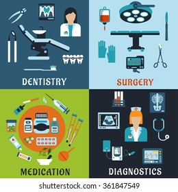 Dentistry, surgery, diagnostic medicine and pharmacology flat icons. Dentist and therapist, doctor, medical equipment, diagnostic, drugs and pills, tools, medicine bottles and medication items