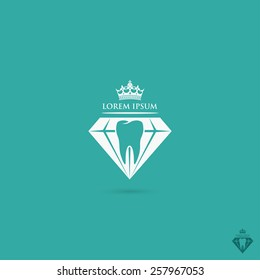 Dentistry symbol with tooth inside of the diamond - vector illustration