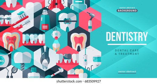 Dentistry tooth care creative banner. Vector illustration. Dental icons in hexagons.