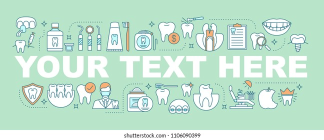 Dentistry word concepts banner. Stomatology. Teeth problems diagnostics and treatment. Dental healthcare. Isolated lettering typography idea with linear icons. Vector outline illustration