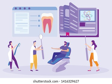 Dentists with Instrument in Hand. Patient on Dental Chair. Study Medicine. Dental Pulpit. Image Tooth on Tablet. Distance Learning. E-Learning. Online Training. Student with Tool. Vector Illustration.