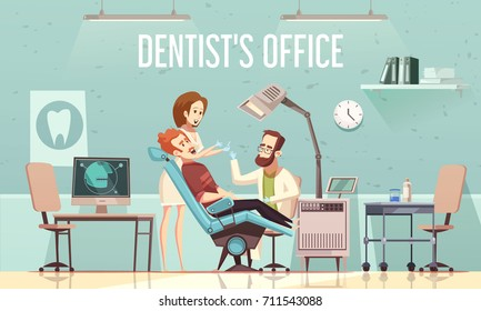 Dentists office cartoon vector illustration with with stomatological equipment patient in chair doctor and assistant