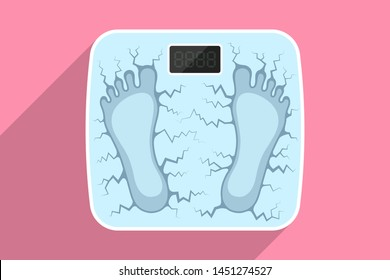 Dents of feet on bathroom scales and cracks around them, over colored background. Weight measurement of obese person having overweight, leading unhealthy lifestyle. Time to go on diet. Health concept