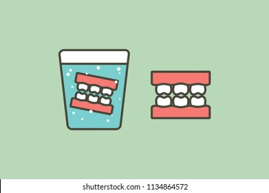 denture in glass, false teeth for adult - dental cartoon vector flat style cute character for design