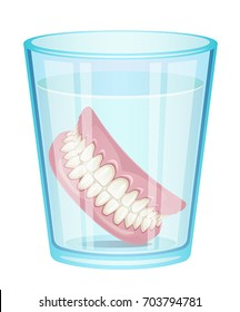 Denture in glass on a white background