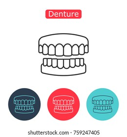 Denture icon. Dental prosthesis, tooth orthopedics sign. Teeth image. Medicine symbol for info graphics, websites and print media. Contour clinic icon. Editable stroke.
