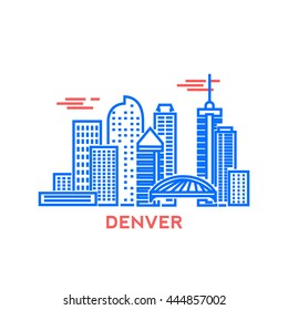 Denver city architecture retro vector illustration, skyline city silhouette, skyscraper, stroke design
