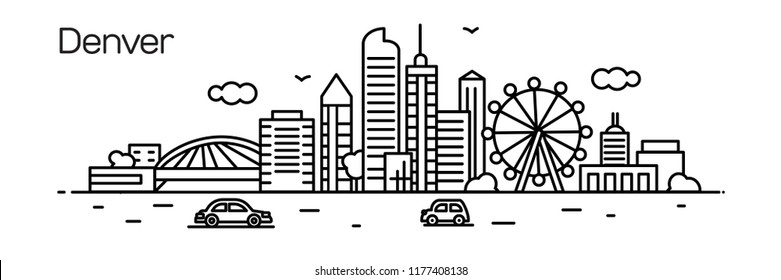 Denver city.For banner, web page, cards, presentation. Vector illustration