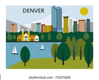 Denver city in Colorado with City park. Vector