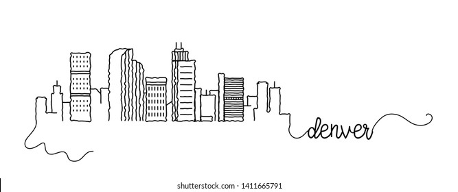 Denver City Skyline Doodle Sign