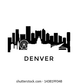 Denver city skyline. Negative space city silhouette. Vector illustration.