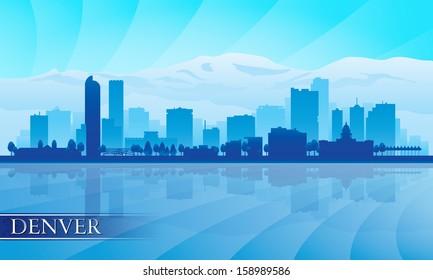 Denver city skyline silhouette background. Vector illustration