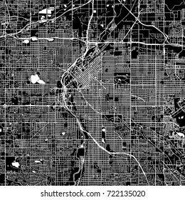 Denver, Colorado. Downtown vector map. City name on a separate layer. Art print template. Black and white.