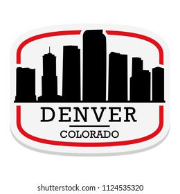 Denver Colorado Label Stamp Icon Skyline City Design Tourism