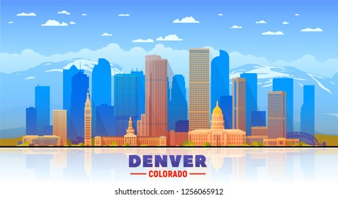 Denver ( Colorado ) skyline with panorama in sky and mountains background. Vector Illustration. Business travel and tourism concept with modern buildings.