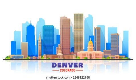 Denver ( Colorado ) skyline with panorama in white background. Vector Illustration. Business travel and tourism concept with modern buildings.