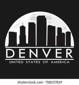 Denver Colorado, Skyline Silhouette City Vector Design Art.