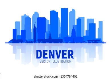 Denver ( Colorado ) skyline silhouette at white background. Vector Illustration. Business travel and tourism concept with modern buildings.