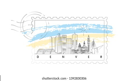 Denver, Colorado skyline stamp vector illustration and typography design
