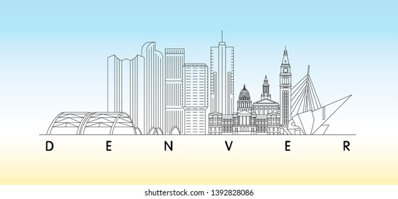 Denver, Colorado skyline vector illustration and typography design