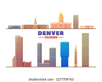 Denver ( Colorado ) top landmarks. Vector Illustration. Business travel and tourism concept with modern buildings. - Vector