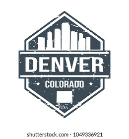 Denver Colorado USA Travel Stamp Icon Skyline City Design