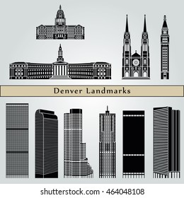 Denver landmarks and monuments isolated on blue background in editable vector file