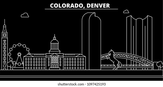 Denver silhouette skyline. USA - Denver vector city, american linear architecture, buildings. Denver travel illustration, outline landmarks. USA flat icon, american line banner
