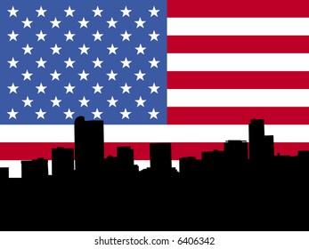 Denver skyline against American flag illustration