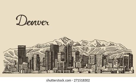 Denver skyline, big city architecture, vintage engraved vector illustration, hand drawn, sketch.