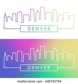 Denver skyline. Colorful linear style. Editable vector file.