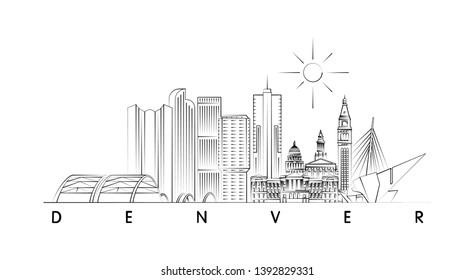 Denver skyline minimal vector illustration and typography design
