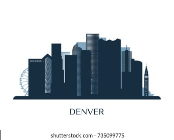 Denver skyline, monochrome silhouette. Vector illustration.