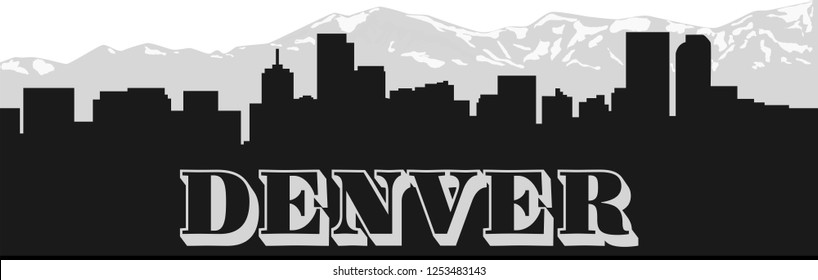 Denver skyline with mountains and lettering