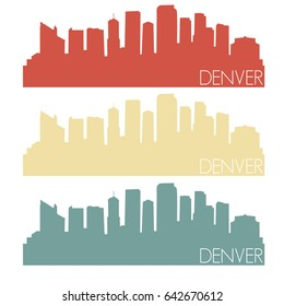 Denver Skyline Silhouette City Stamp Vector Color Vintage Set