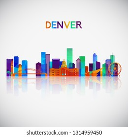 Denver skyline silhouette in colorful geometric style. Symbol for your design. Vector illustration.