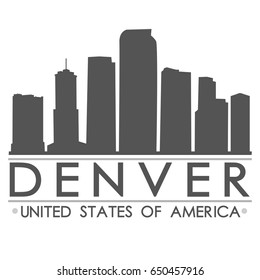 Denver Skyline Silhouette Design City Vector Art