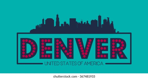 Denver skyline silhouette poster vector design illustration