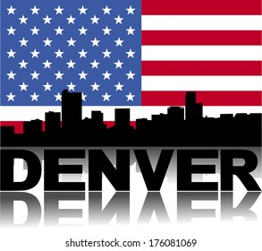 Denver skyline and text reflected with flag vector illustration