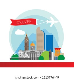 Denver USA detailed silhouette. Trendy vector illustration, flat style. Stylish colorful landmarks. The concept for a web banner. Business travel icon