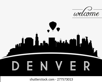 Denver USA skyline silhouette, black and white design, vector illustration
