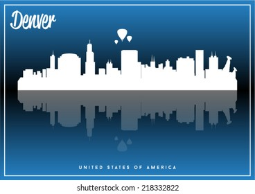 Denver, USA skyline silhouette vector design on parliament blue background.