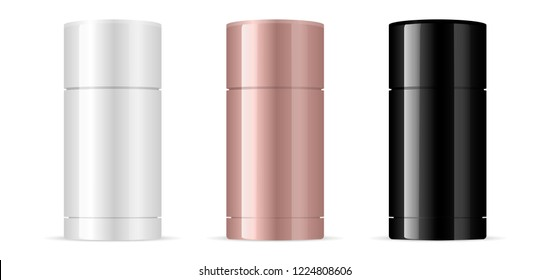 Deodorant antiperspirant stick packaging mockup set in black, white and rose gold colors. Cosmetic containers, isolated on white background. HQ EPS vector.