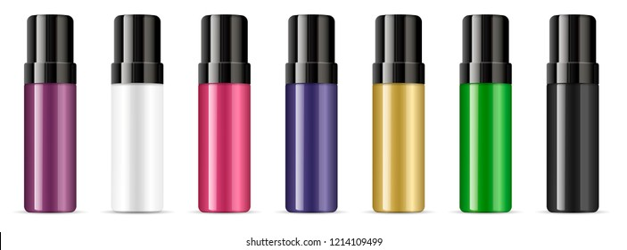 Deodorant cosmetic bottles with lids different color set. Vector illustration of cosmetics mockup product. Glossy plastic or glass container with black cap.