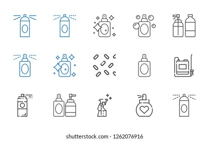 deodorant icons set. Collection of deodorant with spray, perfume, paint spray, sprayer, sprinkles, hairspray. Editable and scalable deodorant icons.
